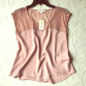 Pink Lace Upper Half Blouse, New with Tag